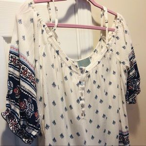 Skies are Blue cold shoulder peasant boho tunic XL